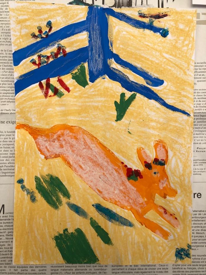 D'après Chagall et La Fontaine, techniques mixtes, Madeleine Penet-Avez