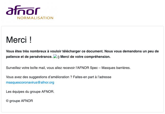 Message de l'Afnor pour télécharger la norme sur les masques