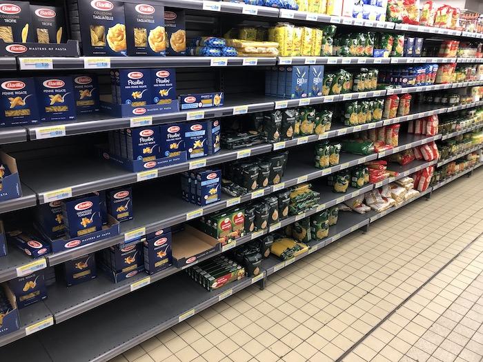 Moins de pâtes au supermarché
