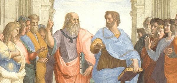 Platon pointant le ciel et Aristote la terre