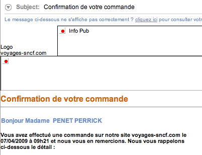 confirmation de la SNCF